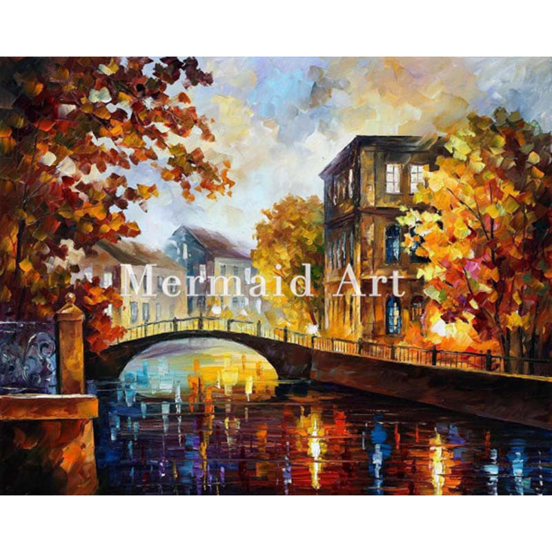 hand painted Modern Artwork of Landscape Palette knife thick Art The River Of Memories canvens Oil Painting Wall Decor Fine Art