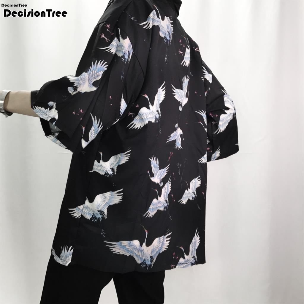 2019 Retro Men Kimono Cardigan Shirt Harajuku Street crane print Outerwear Casual Loose Short Sleeve Shirts Jacket cardigan
