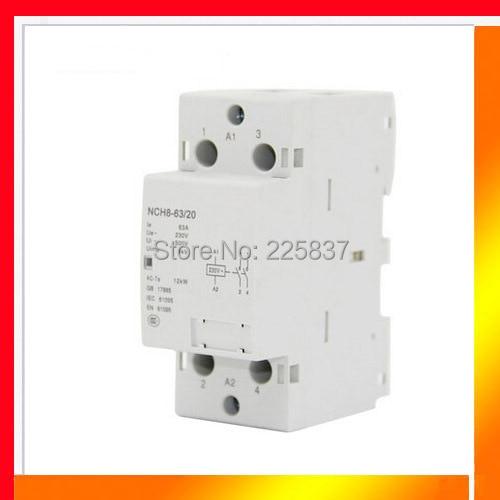 цена на Free shipping high quality NCH8-63/20 AC 220v 230v 50/60Hz 63A 2-NO 2P 2-pole household mini DIN Rail modular AC contactor