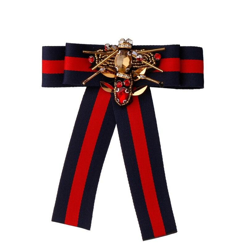 Fashion Handmade Collar Tie Corsage Broche Dress Shirt Bowknot Fabric Ribbon Brooch Animal Bee Bow Brooch Pins For Women Jewelr