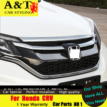 A&T car styling For Honda CRV front cover trim 2015 2016 For CRV hood decorative chrome stickers ABS styling mouldings