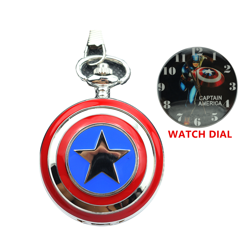 New Pocket Watch Captain American Star Shield Relogio De Bolso Pendant Watch with Necklace Chain child super hero xmas gift цена и фото
