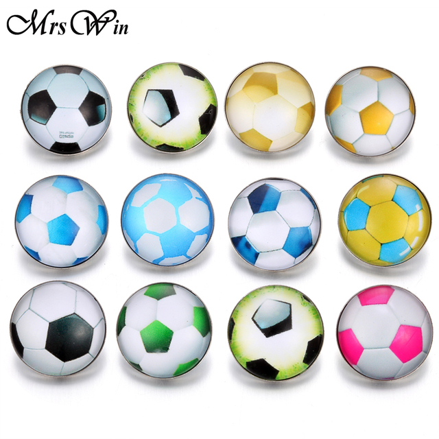 10pcs/lot Sports Football Team Glass Snap Buttons Jewelry Fit DIY 18mm Snap Bracelet Replaceable Button Jewelry