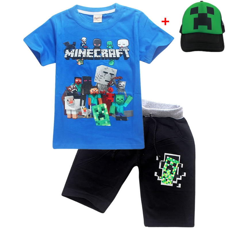 US $4 2 30% OFF|Boys Girls Summer Minecraft Cartoon Kids Set Children  Clothing 100% Cotton Short Sleeve T Shirts Pants Baby Clothes Sports  Sets-in