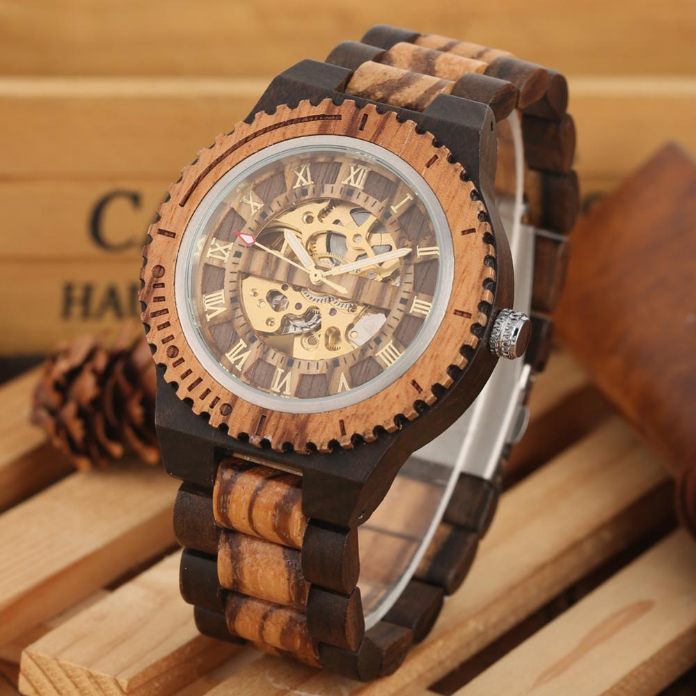 Fashion Automatic Watch Men Full Wooden Watches Luxury Golden Roman Numbers Dial Wrist Watch Timepieces Clock Male reloj hombre in Mechanical Watches from Watches