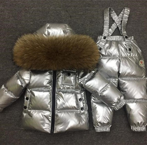 2018 Russian Winter children clothing sets Warm duck down jacket for baby girl children's coat snow wear kids suit Fur Collar цена