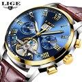 Relogio masculino часы мужские LIGE спортивные мужские механические часы модные деловые мужские автоматические часы водонепроницаемые кожаные часы