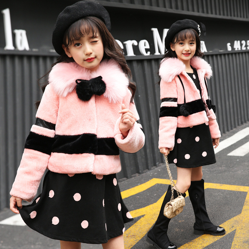 Winter children clothing sets girls Warm parka Fur Collar down jacket + Long Sleeve Dress children's coat snow wear kids suit new brand women s middle aged and old long down jacket female bigger sizes mother fur collar clothing winter coat printing hot