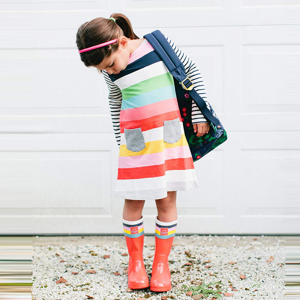 Toddler Kids Baby Girls Striped Pocket Princess Casual Dress Outfits Clothes