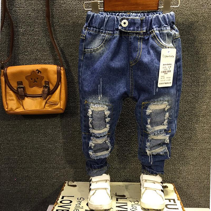 New 2016 Boys Girls Jeans 2 7Yrs Children Broken Hole Jeans Pants Fashion Baby Children Pants
