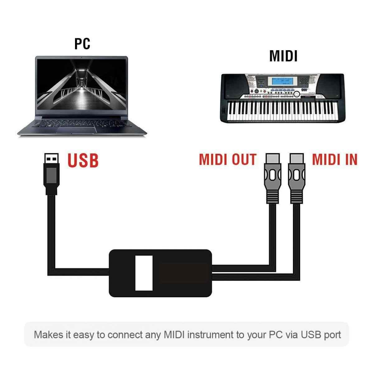 2 metri USB al Cavo MIDI Pianoforte Elettrico Tamburo Musica per Chitarra Compilare Cavo Adattatore di Interfaccia Convertitore di Supporto Per Mac OS e finestre