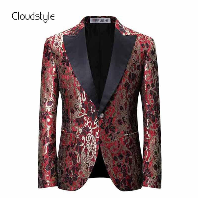 Cloudstyle 2018 Nouvelle Arrivée Mens Blazer Occasionnel Claret Fleur Imprimé Hommes De Parti De Mariage Costumes Slim Fit Blazer