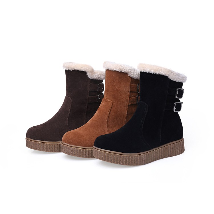 2016 Real Botas Mujer Snow Boots Big Size 34-43 New Round Toe Buckle Boots For Women Casual Heels Fashion Warm Winter Shoes 17-1 new fashion lady warm winter wool zipper tube snow boots for women knight boots brown size 34 43 women boots shoes new