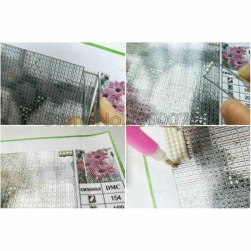 Diy เพชรโมเสคสีบนผ้าใบ 5D ภาพวาดเพชร cross stitch ชุดเย็บปักถักร้อยเพชรภาพการ์ตูนแมว Craft ของขวัญ