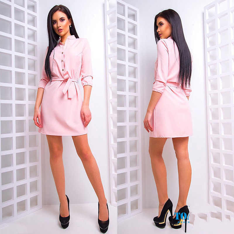 2018 Summer Women Party Dresses 3/4 Sleeve female Vestidos Stand Collar Loose Dress Elegant With Waist Band Blouse Dresses