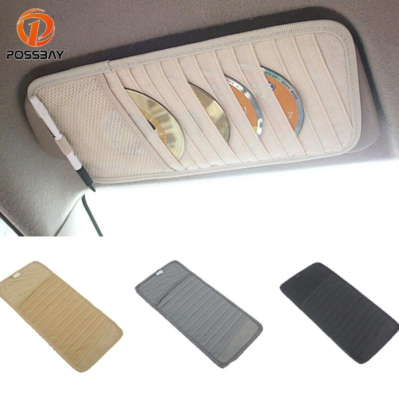 POSSBAY Sunshade Storage Bag Car Sun Visor Holder CD Storage Interior Organizer Pocket Pen Cards Wallet Pouch Clip Bag Holder