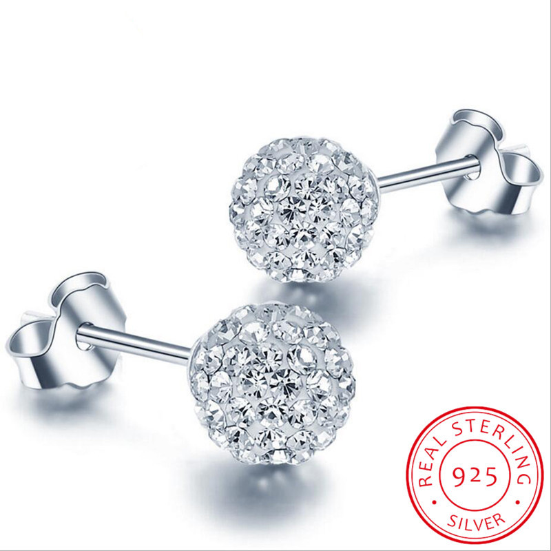 High Quality 925 Sterling Silver Rhinestones Crystal Ball Stud Earring Bead Jewelry 10mm 8mm 6mm Stud Earring For Female Jewelry