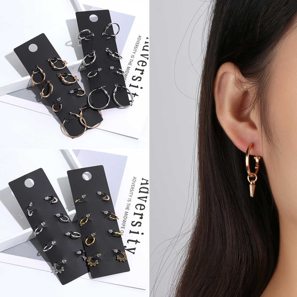 4Pairs/Set Round Hoop Earrings Set Charm Pendant Earring Minimalist Geometry Jewelry Gift Ear Clip dropshipping