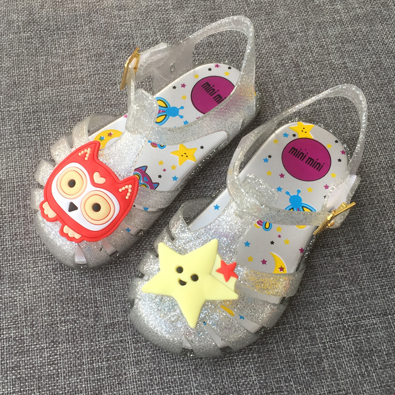 Gilrs Sandals Mini Melissa Jelly Princess Summer ChildrenS Shoes Jelly Crystal Shoes breathable Cartoon Sandals Shoes