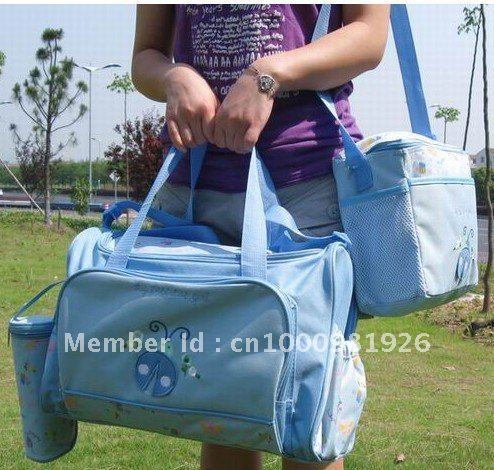 Fashion four functions of a mummy bag / Diaper Bag / parenting KIT 4 Piece Set Blue / Pink