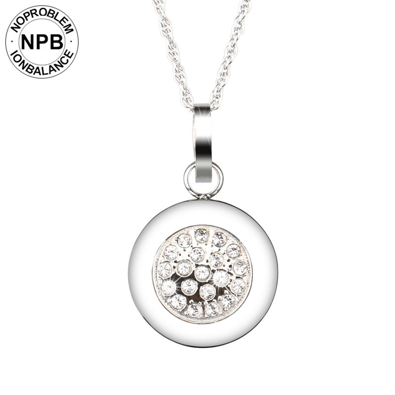 Noproblem 029 Best negative ion health power therapy round pendant crystal tourmaline germanium necklacesNoproblem 029 Best negative ion health power therapy round pendant crystal tourmaline germanium necklaces