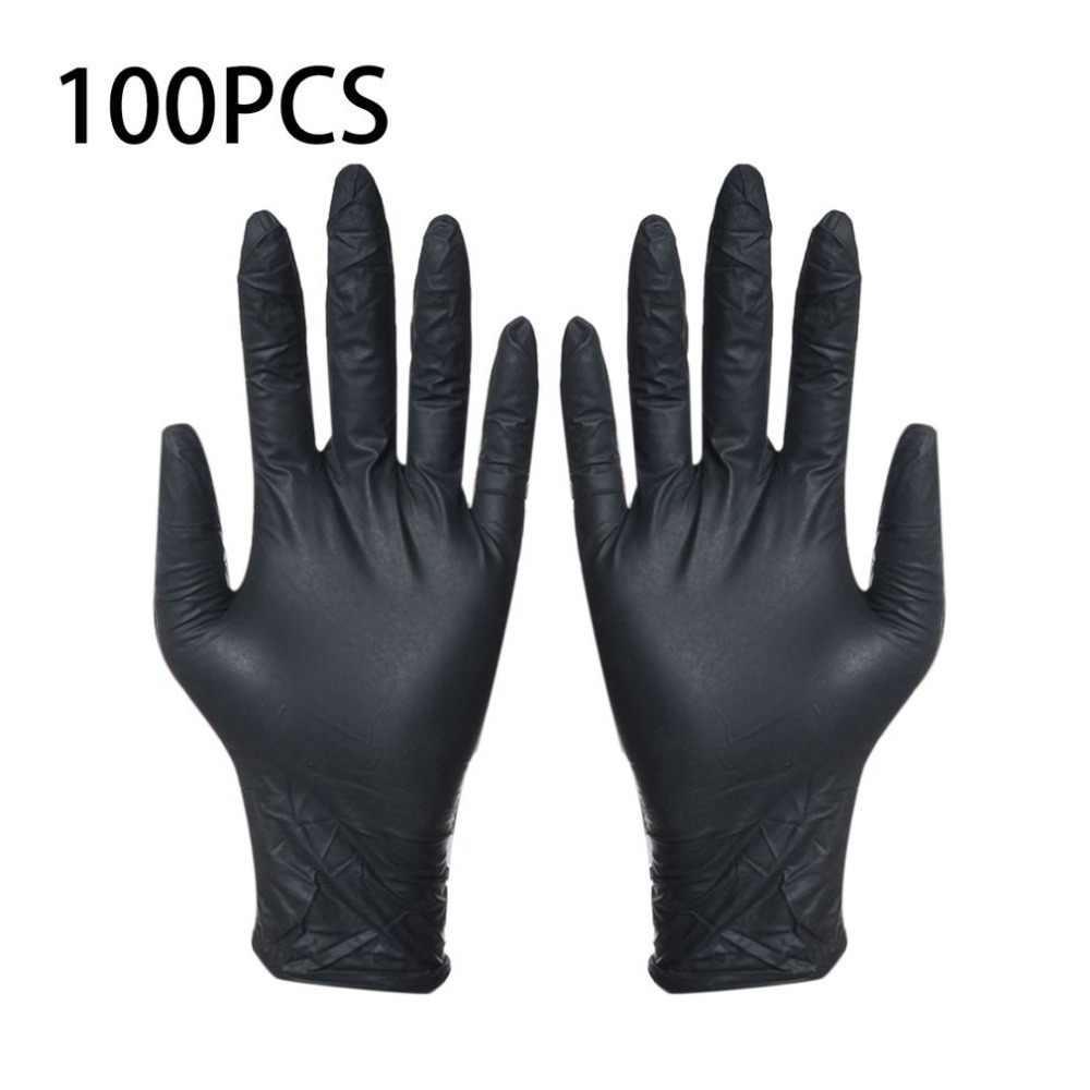 100 шт Одноразовые черные перчатки бытовые чистящие моющие нитриловые