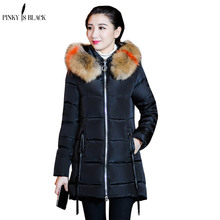 PinkyIsBlack 2019 Down Cotton Winter Jacket Women Fur Hooded Long Parkas Thick Padded Lining Coat Plus Size
