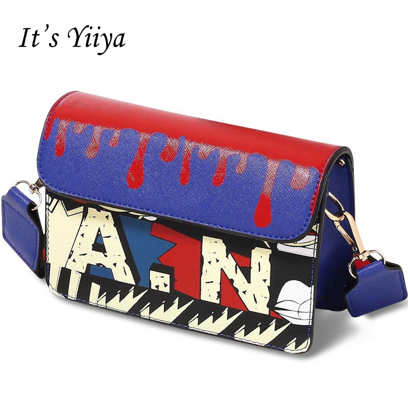 Its YiiYa Cool Women Hand Bag Casual Fashion Printed Letter For Party Hasp Girls Lady Chains Messenger Bags Pocket BagsZB005 ...