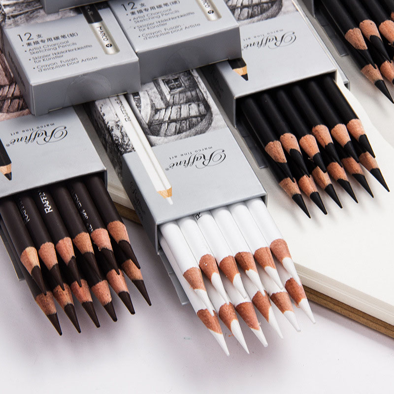 12Pcs Professional Sketch Wood Pencil Soft Pastel Pencils Charcoal Pen For Student Drawing Art Supplies