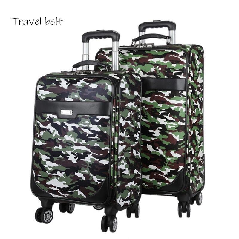 Bagaj ve Çantalar'ten Tekerlekli Bagaj'de Kamuflaj açık Yüksek kaliteli Haddeleme Bagaj Spinner 20/24 inç Erkekler İş Bavul Tekerlekleri Seyahat Çantaları Üzerinde Taşımak'da  Grup 1