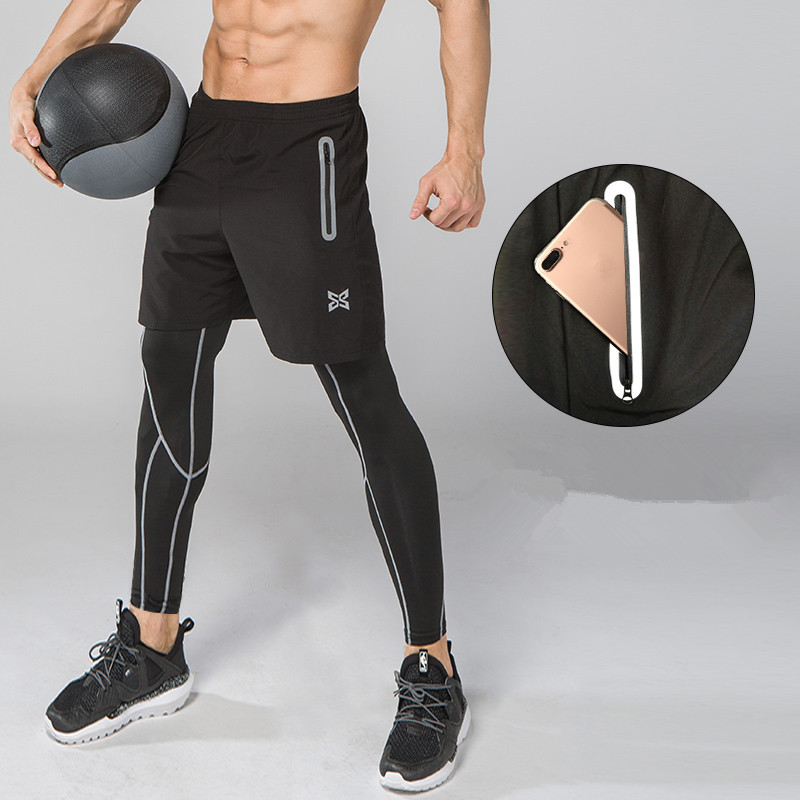 2Pcs Men Running Pants with Shorts Sport Soccer Leggings Compression Fitness Football Basketball Tights Breathable zipper pocket