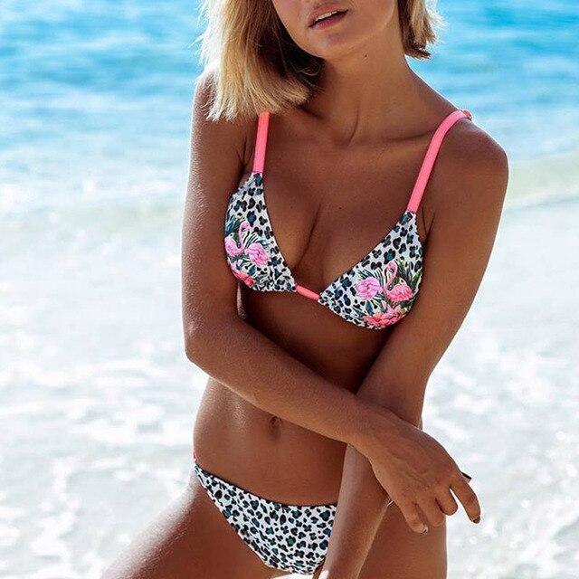 Bandage Halter Beach Wear Push Up Bathing suits Print Swimwear Female Brazilian Bikini Set S-XL 4
