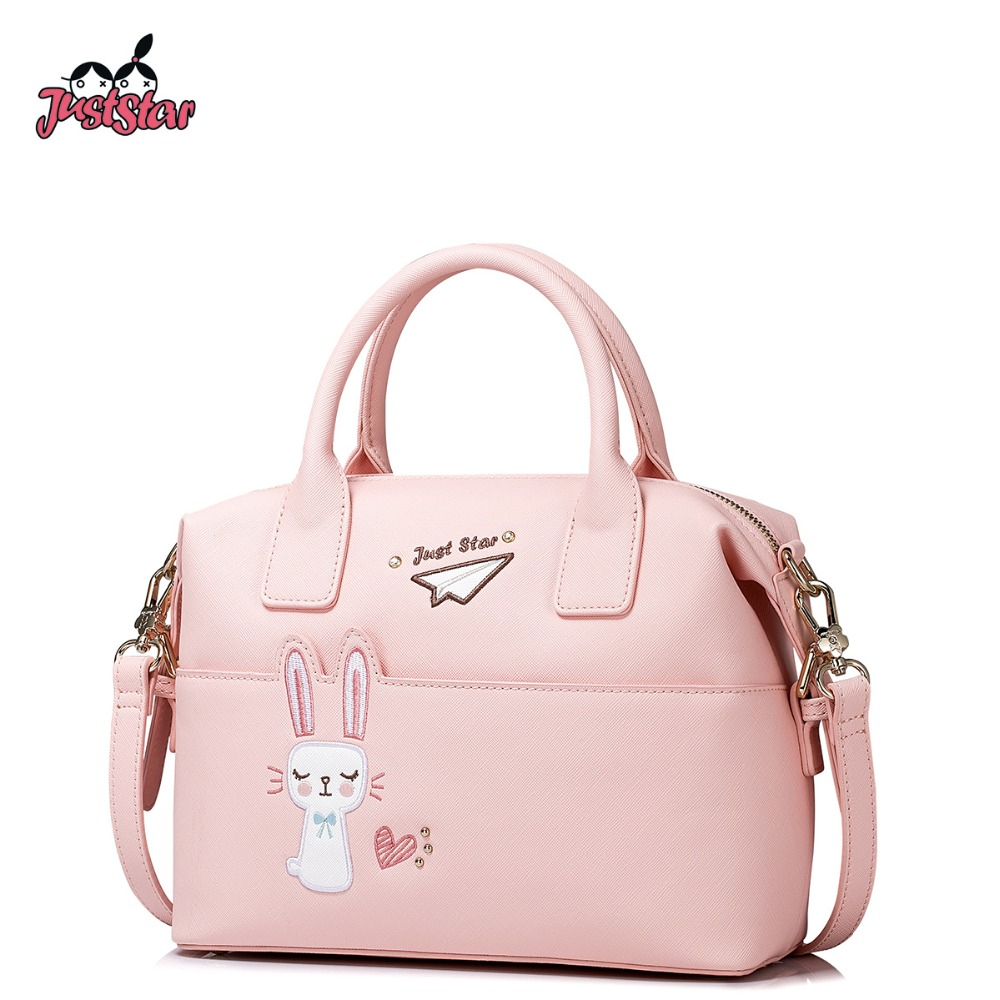 ФОТО JUST STAR Women's PU Leather Handbags Ladies Fashion Embroidery Tote Bag Female Rabbit Boston Leisure Messenger Bags JZ4275