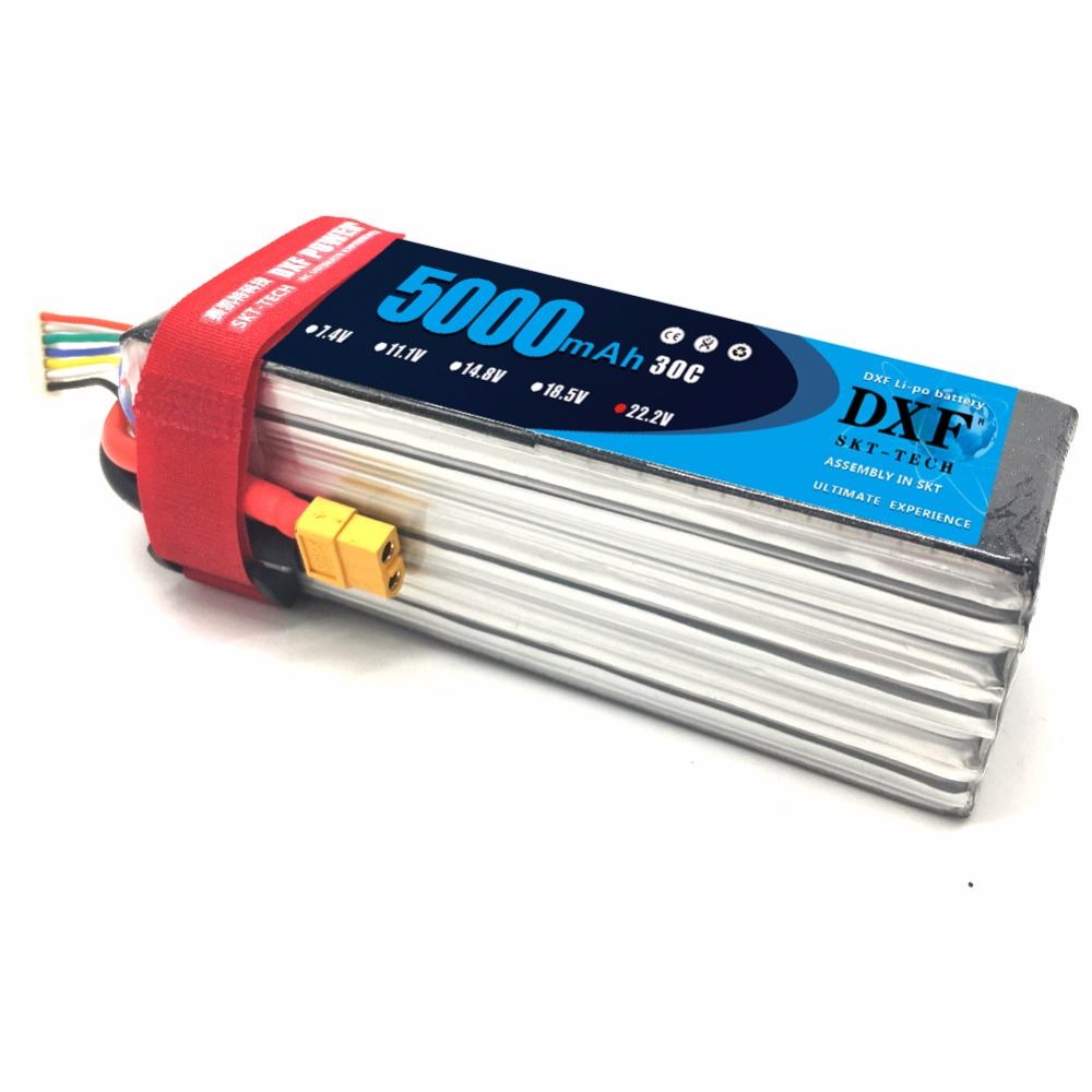 DXF Power 22.2V <font><b>5000mAh</b></font> <font><b>6S</b></font> 50C Lipo Battery for RC Racing Drone Helicopter Models Toys Power Spare Part image