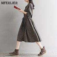 Mferlier Mori Girl Spring Autumn Shirt Dress Peter Pan Collar Single Breasted Retro Dress Femme Long