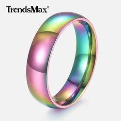 Kolor tęczy męski pierścionek polerowany obrączka ślubna ze stali nierdzewnej pierścień mężczyzna kobieta hurtownia biżuterii prezenty walentynkowe 6mm KR167