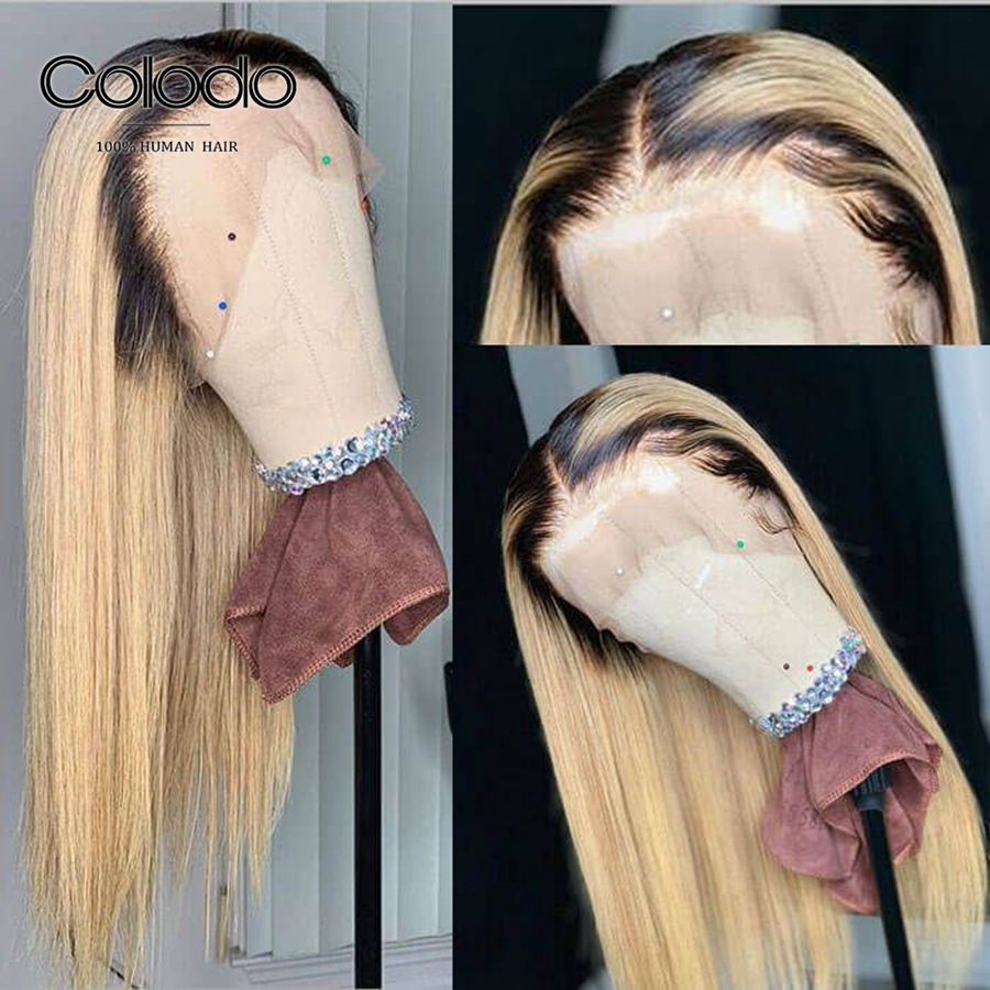 HTB1gqBjPbvpK1RjSZPiq6zmwXXar COLODO Remy Blonde Wig With Dark Root Brazilian Ombre Color Long Straight Human Hair Lace Front Wigs Pre Plucked Bleached Knots