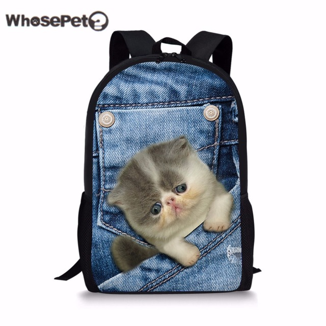 17e8a01157 WHOSEPET Denim 3D Cat school bags backpack for teen boys girls canvas  Schoolbag Book Bag Cute Animals Printing Knapsacks Mochila