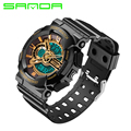 SANDA New Rubber Quartz Watches Men Fashion LED Digital-watch Gold Waterproof Sport Military Army S Shock Watches relojes hombre