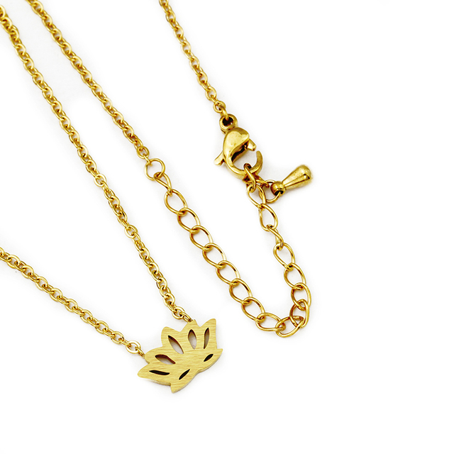Simple Small Lotus Flower Necklace Women Stainless Steel Chain Gold