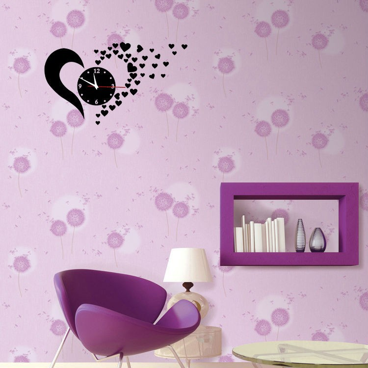 Creative Love Heart Acrylic Mirror 3D Wall Clock Modern Design DIY ...