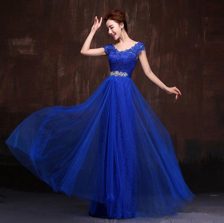 Vestido azul rey largo