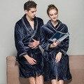 2016 Plug Tamanho XL Robes de Inverno Homens Moda Difusa Espessamento Flanela Roupão De Banho Roupão de Banho Quente Pijamas Azul