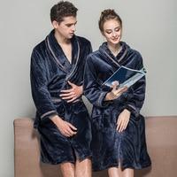 2018 Winter Couple Robes Women Fashion Fuzzy Flannel Thickening Bath Robe Warm Bathrobe Sleepwear Blue Red