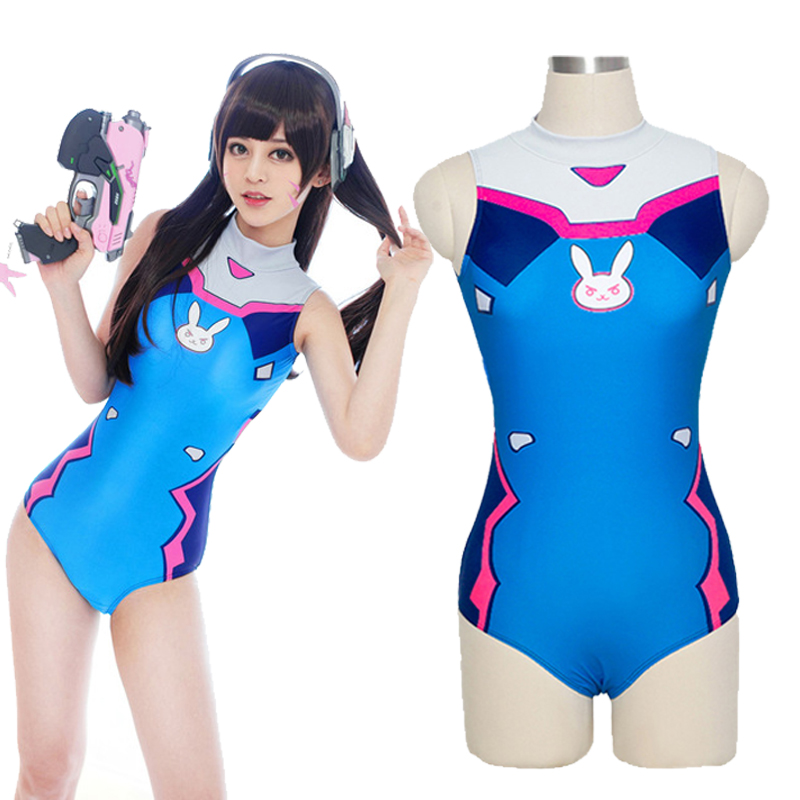 <font><b>Sexy</b></font> Game OW D.VA <font><b>Cosplay</b></font> Costume <font><b>Dva</b></font> Mercy <font><b>Cosplay</b></font> SUKUMIZU Spandex Anime Swimsuit One Piece Swimwear Bathing Suit image