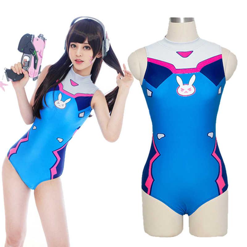 بدلة سباحة مثيرة OW D.VA التأثيرية Dva الرحمة التأثيرية SUKUMIZU سباندكس الانيمي قطعة واحدة ملابس السباحة ثوب السباحة