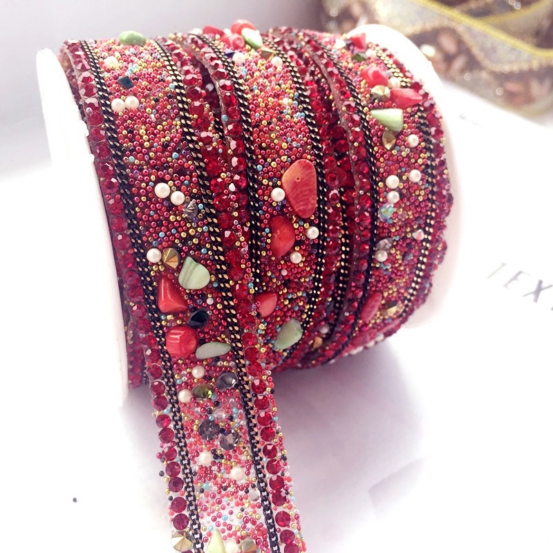 Red Stone Crystal Rhinestone Tassels Wedding Dress Accessories Beaded Lace Trim Fabric Applique Patches Sew On Trim For Clothing
