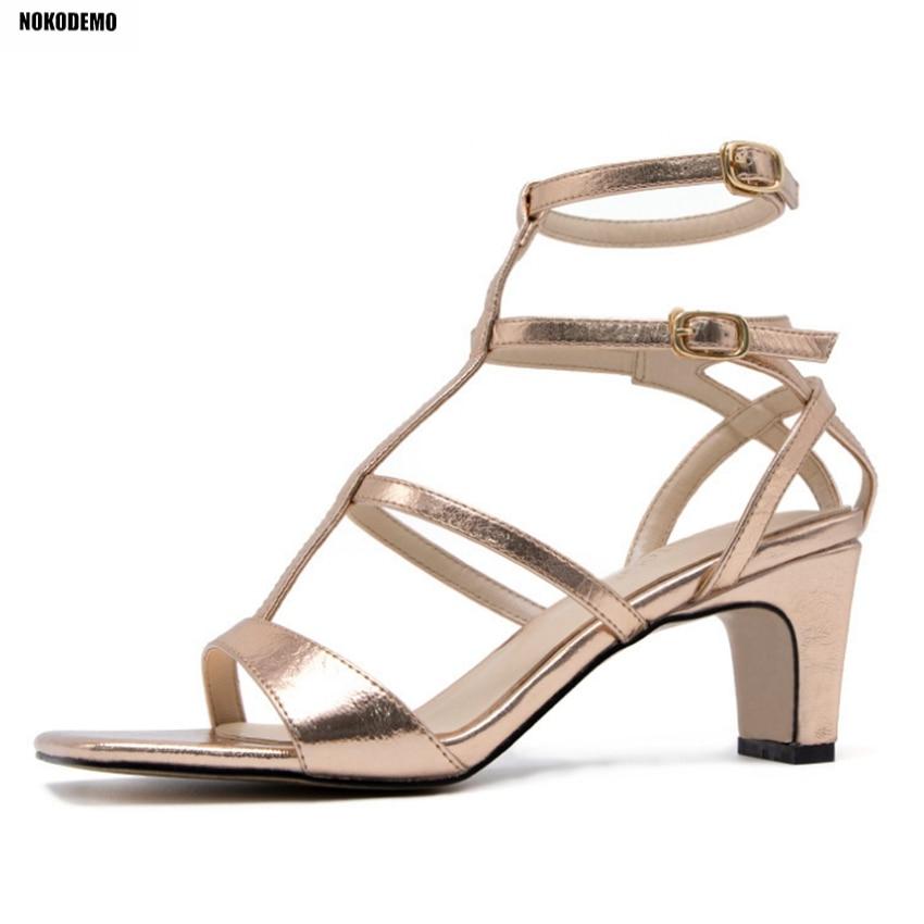 Oro Tacones Mujeres Altos Verano Plata Tobillo Mujer Sandalias Chunky Correa plata Gruesa Zapatos Oro Partido BwOZq