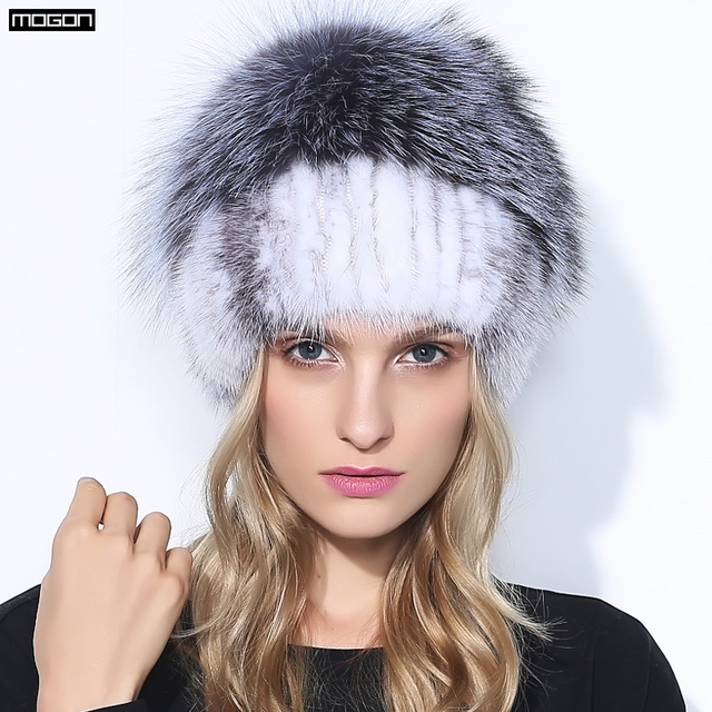 Women Special Offer Time-limited Adult New Fur Hats For Winter Genuine Mink Cap With Fox Pom Poms Knitted Beanies 2016 Sale