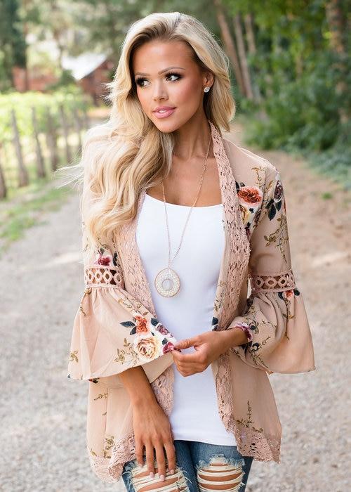 HTB1gqCKEXGWBuNjy0Fbq6z4sXXai Women Plus Size Loose Casual Basic Jackets Female 2018 Autumn Long Flare Sleeve Floral Print Outwear Coat Open Stitch Clothing